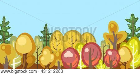 Flat Autumn Forest. Landscape With Trees. Illustration In A Simple Symbolic Style. A Funny Scene. Bl