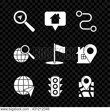Set Search Location, Map Pointer With House, Route, Location The Globe, Traffic Light, Folded Map Ma