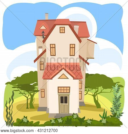 Cartoon House On The Sand. City Silhouette. Beautiful View. Cozy Rustic Dwelling In A Traditional Eu