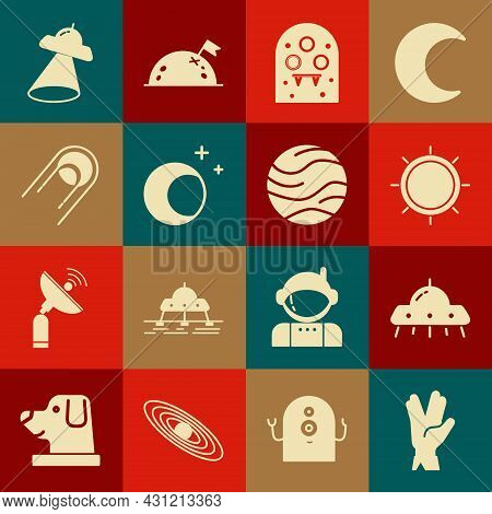 Set Vulcan Salute, Ufo Flying Spaceship, Sun, Alien, Moon And Stars, Satellite, And Planet Icon. Vec