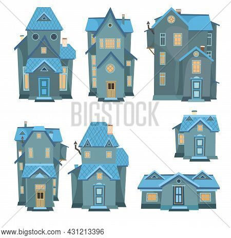 Set Of Cartoon Houses At Night. A Beautiful, Cozy Country House In A Traditional European Style. Col