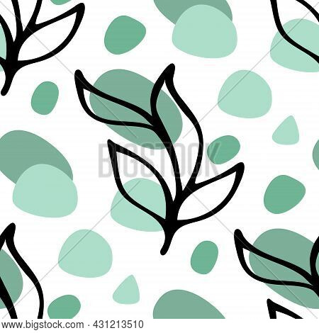 Seamless Pattern Background With Black Ink Floral Leaves Hand Drawn Doodle And Abstract Round Shape