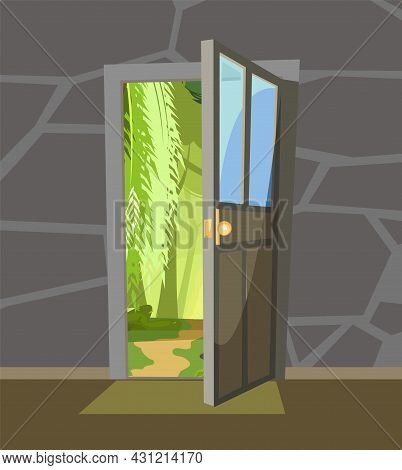 Opened Door. View From Inside From Room Of House To Summer Landscape With Road In Fog. Stone Wall. W