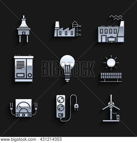 Set Light Bulb With Concept Of Idea, Electric Extension Cord, Wind Turbine, Solar Energy Panel And S