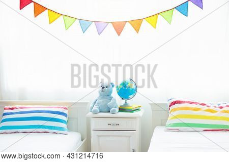 Bedroom For Two Kids. White Bed For Child, Window