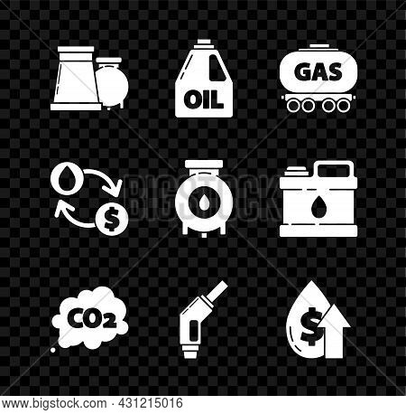 Set Oil And Gas Industrial Factory Building, Gas Railway Cistern, Co2 Emissions Cloud, Gasoline Pump