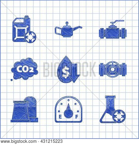 Set Drop In Crude Oil Price, Motor Gas Gauge, Antifreeze Test Tube, Industry Metallic Pipes And Valv
