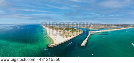 Aerial Panoramic View Of The Tavira Island Beach, A Tropical Island Near The Town Of Tavira, Part Of