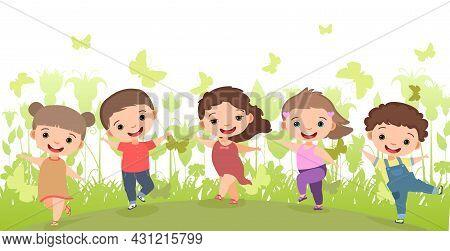 Children Dance Joy In The Meadow. Happy Childhood. Little Boys And Girls. Kid Jumps For Joy. Nice Ki