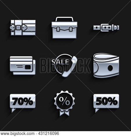 Set Telephone 24 Hours Support, Discount Percent Tag, Fifty Discount, Stacks Paper Money Cash, Seven