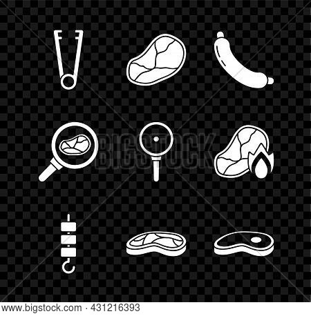 Set Meat Tongs, Steak Meat, Sausage, Grilled Shish Kebab Skewer Stick, In Frying Pan And Frying Icon