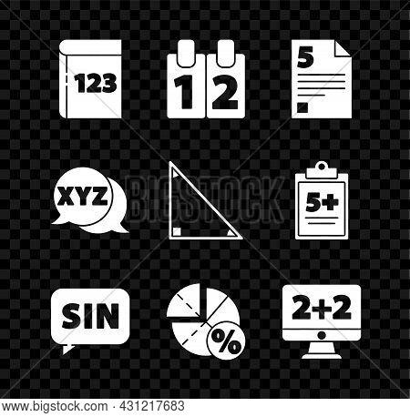 Set Book With Word Mathematics, Calendar, Test Exam Sheet, Mathematics Function Sine, Graph, Schedul