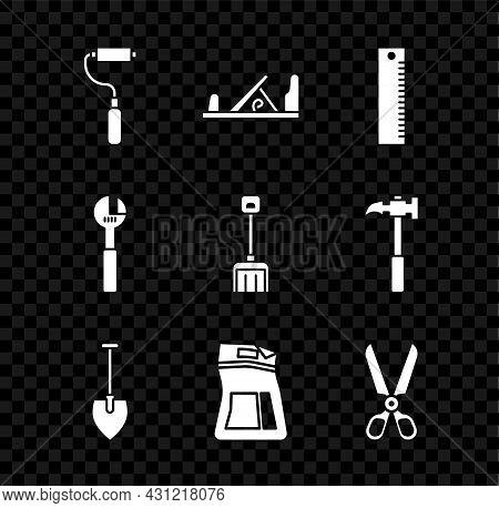 Set Paint Roller Brush, Wood Plane Tool, Ruler, Shovel, Cement Bag, Scissors, Adjustable Wrench And