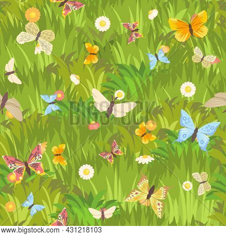 Seamless Pattern. Meadow With Dense Grass, Flowers And Butterflies Close-up. Wild Green Rural Plants