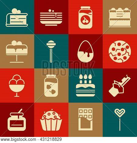 Set Lollipop, Bitten Chocolate Bar, Cookie Or Biscuit, Cherry Jam Jar, Cake On Plate, Piece Of Cake