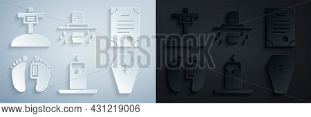 Set Burning Candle, Death Certificate, Dead Body, Coffin With Cross, Grave Coffin And Icon. Vector