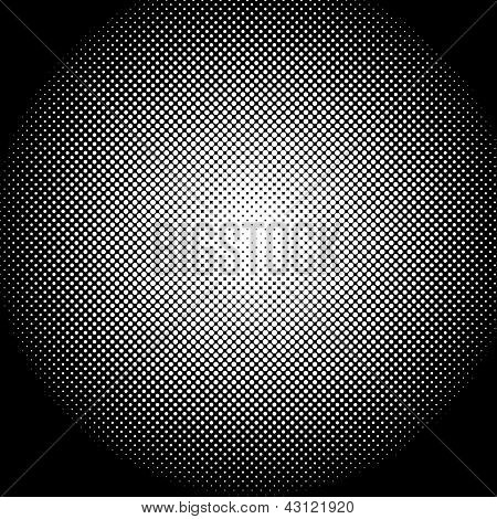 A halftone sphere is featured in an abstract background illustration. poster
