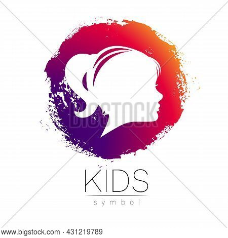 Child Girl Vector Logotype In Violet Circle. Silhouette Profile Human Head. Concept Logo For People,
