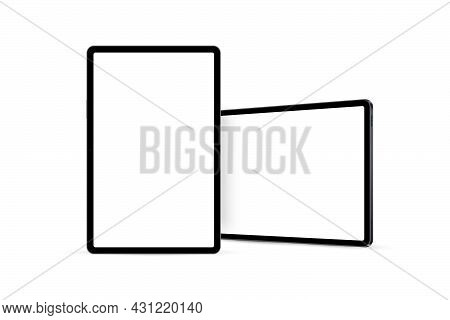 Tablet Vertical And Horizontal Mockup With Front, Side View. Vector Illustration