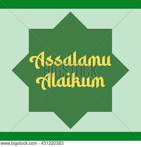 Assalamu Alaikum Religious Greetings Typography Text. Islamic Typography Poster Vector Design.