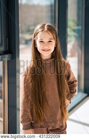 Little Girl At Home. Portrait Og Young Girl