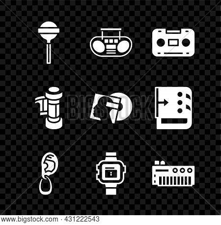 Set Lollipop, Home Stereo With Two Speakers, Retro Audio Cassette Tape, Ear Earring, Wrist Watch, Mu