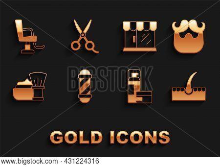 Set Classic Barber Shop Pole, Mustache And Beard, Human Hair Follicle, Shaving Gel Foam, Brush With,
