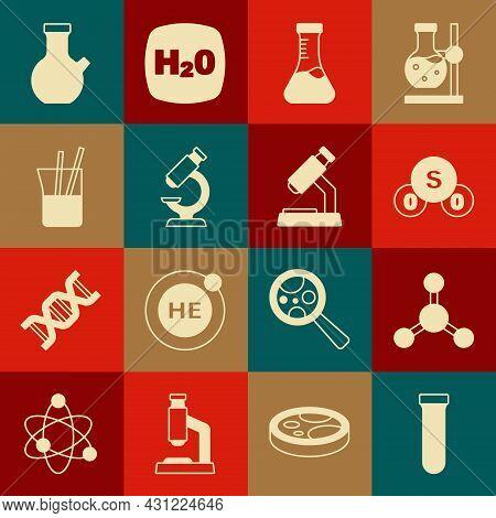 Set Test Tube, Molecule, Sulfur Dioxide So2, Microscope, Laboratory Glassware, And Icon. Vector