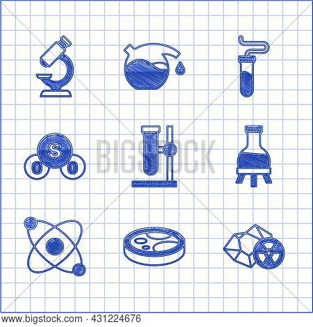 Set Test Tube Flask On Stand, Petri Dish With Bacteria, Radioactive, Atom, Sulfur Dioxide So2, And M