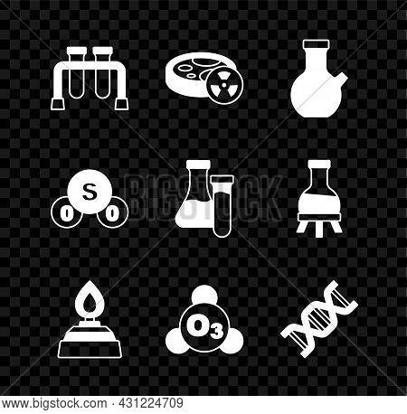 Set Test Tube, With Toxic Liquid, Alcohol Or Spirit Burner, Ozone, Dna Symbol, Sulfur Dioxide So2 An