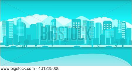 Modern Metropolis With Mountains And Clouds.panoramic View Of The City. Urban Landscape. Vector Post