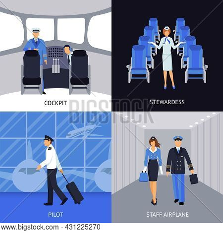 Pilot And Stewardess In The Cockpit And Walking To The Plane 4 Flat Icons Square Abstract Vector Ill