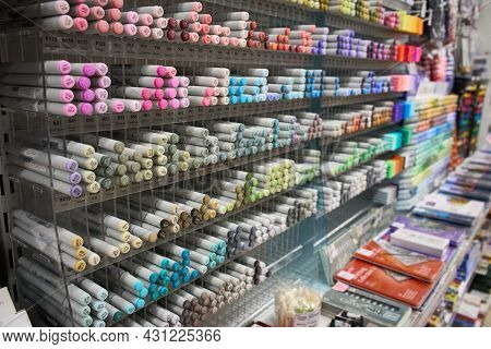 Ukraine, Dnepropetrovsk. 05.06.2021colored Various Markers For Artwork On The Shop Stand Close Up. S