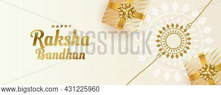 Beautiful Raksha Bandhan Banner With Gift Boxes And Rakhi Vector Design Illustration