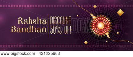 Raksha Bandhan Sale Banner With Realistic Rakhi Vector Design Illustration