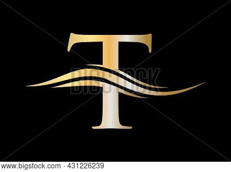 T Logo Design. Swoosh Letter T Logo Design For Business And Company Identity. Water Wave T Logo With