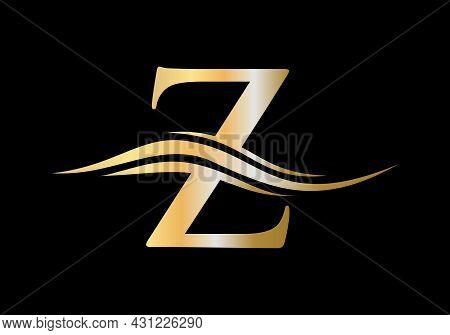Water Wave Z Logo Vector. Swoosh Letter Z Logo Design For Business And Company Identity. Z Logo Vect