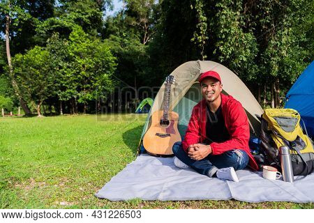 Young Asian Traveler Man Camping With Tent In Nature. Backpacker, Relaxing, Holiday, Activities, Hik