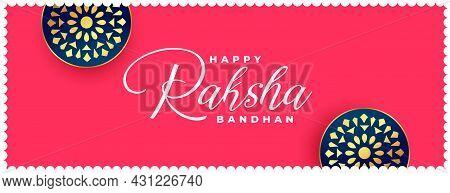 Happy Raksha Bandhan Indian Style Ethnic Banner Vector Design Illustration