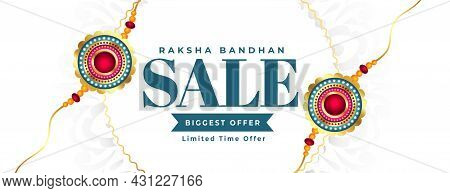 Raksha Bandhan White Sale Banner With Rakhi Vector Design Illustration