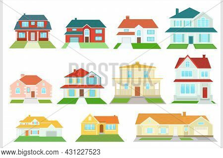 Set Of Vector Houses On A White Background. American Residential Buildings.