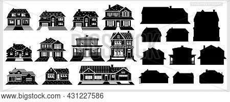 A Set Of Houses In Black And White. Silhouettes Of Houses. American Houses.