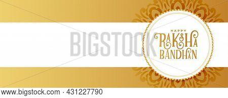 Golden Raksha Bandhan Ethnic Banner Vector Design Illustration