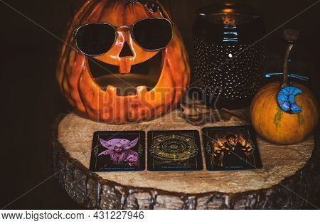 Concept Of Tarot Cards Predictions Halloween And Other Old European Celebrate. Europe, Romania. Tran