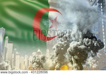 Huge Smoke Column With Fire In Abstract City - Concept Of Industrial Explosion Or Terroristic Act On