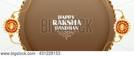 Hindu Raksha Bandhan Festival Banner With Realistic Rakhi Design