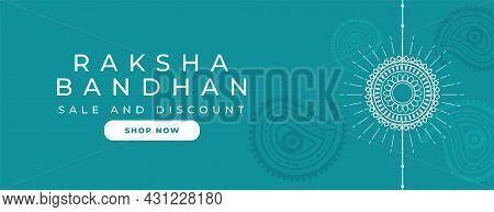 Simple Raksha Bandhan Banner With Decorative Ethnic Design
