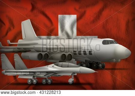 Air Forces On The Switzerland Flag Background. Switzerland Air Forces Concept. 3d Illustration