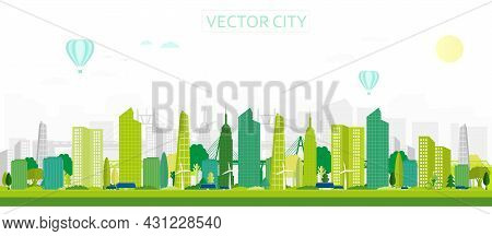 Modern City With Solar Panels. Vector Poster With Panoramic City Views. Greenery City With Skyscrape