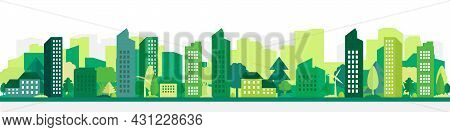 Vector Poster With Suburban Houses And Skyscrapers.modern City In Green With Houses And Trees.eco Ci